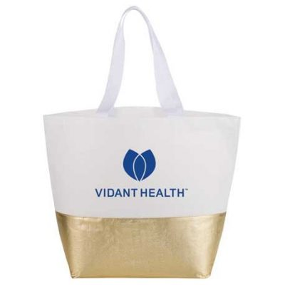 Large Laminated Metallic Bottom Tote